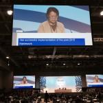 公式本会議で、女性主要グループとして発言する副代表の原ひろ子